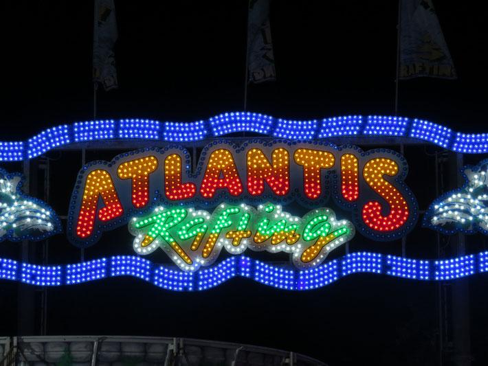 """Foto / ATLANTIS RAFTING - DIE Jahrmarkts-/Kirmes-Wildwasserbahn: """"ATLANTIS bei Nacht"""""""
