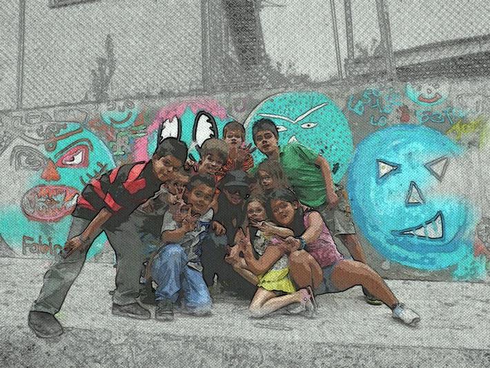 Grupo de niños/as que participaron del Programa Gente al Parque, Distrito Central de Palmares. 2014.