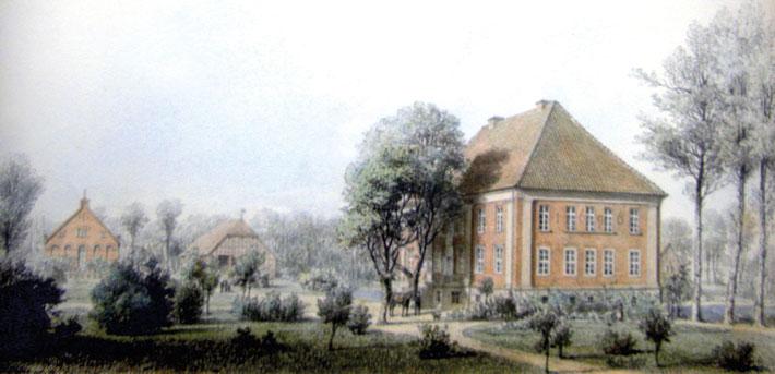 Herrenhaus Goldenbow mit Knickwalmdach von 1696.