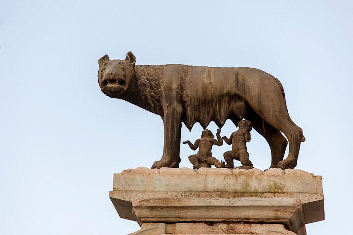 Die Wölfin mit Romulus und Remus.
