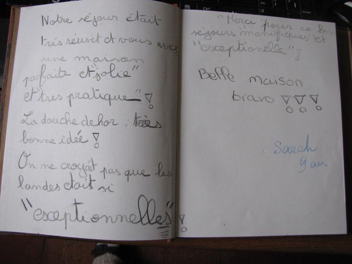 """Ecogîte-biogîte """"Lartigue"""" - Landes - Extrait du livre d'or - commentaire d'une petite vacancière"""