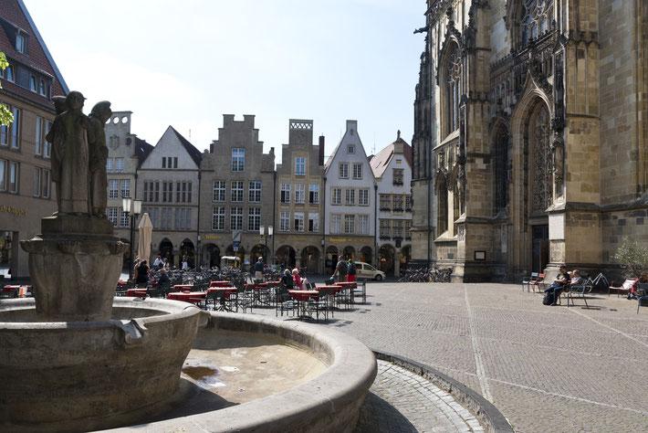 Lambertikirchplatz mit Blick auf den Prinzipalmarkt, Münster in Westfalen