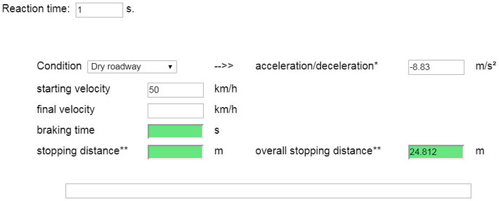 Calculator for (Total) Stopping/Braking Distance - Johannes