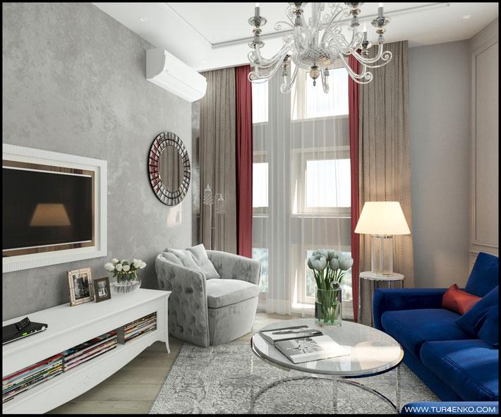 """дизайн  гостиной в ЖК """"Велтон парк"""" www.tur4enko.com"""