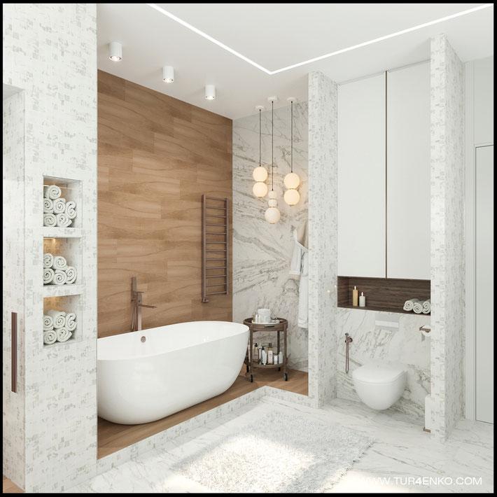 дизайн мастер ванной в жилом доме в КП Чистые пруды 89163172980