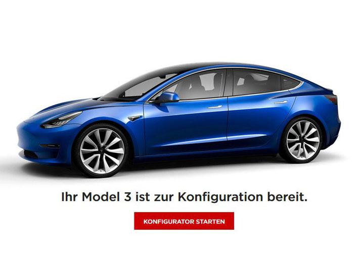 Das Tesla Model 3 ist ab sofort für alle Interessierten bestellbar. (Bild: Tesla)