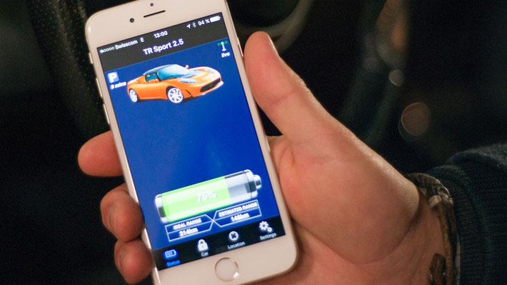 Kontrolle des Ladestandes sowie weitere Funktionen per App (Bild: S. Schwarz)