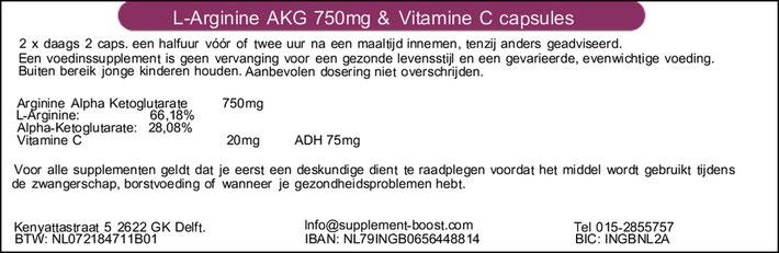 Etiket L-Arginine AKG 750mg & Vitamine C capsules
