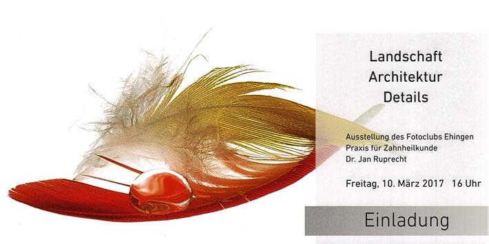 Einladungskarte zur Eröffnung der Dauerausstellung in der Zahnarztpraxis Dr. Ruprecht