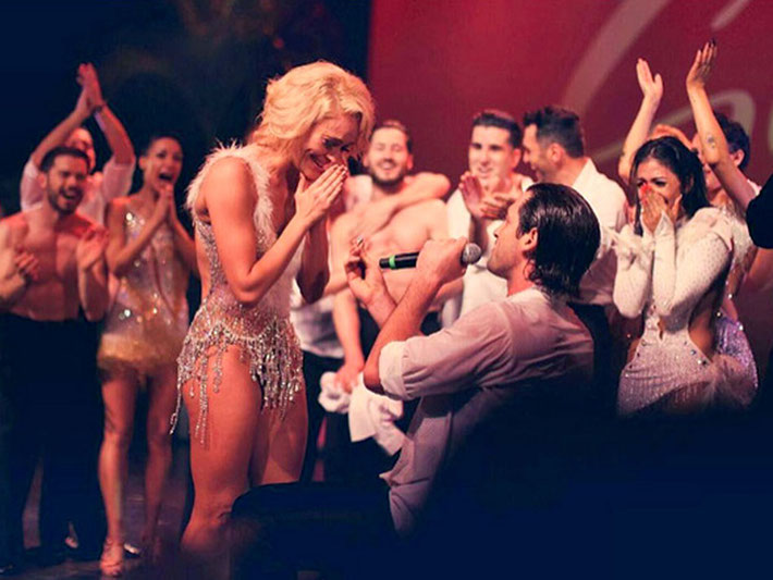 From left: Peta Murgatroyd and Maks Chmerkovskiy during his proposal SOURCE: INSTAGRAM