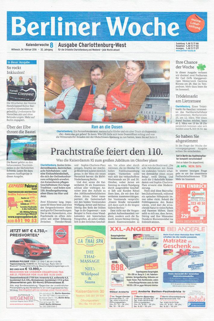 Neujahrsempfang der Kaiserdamm IG: Berichterstattung in der »Berliner Woche«