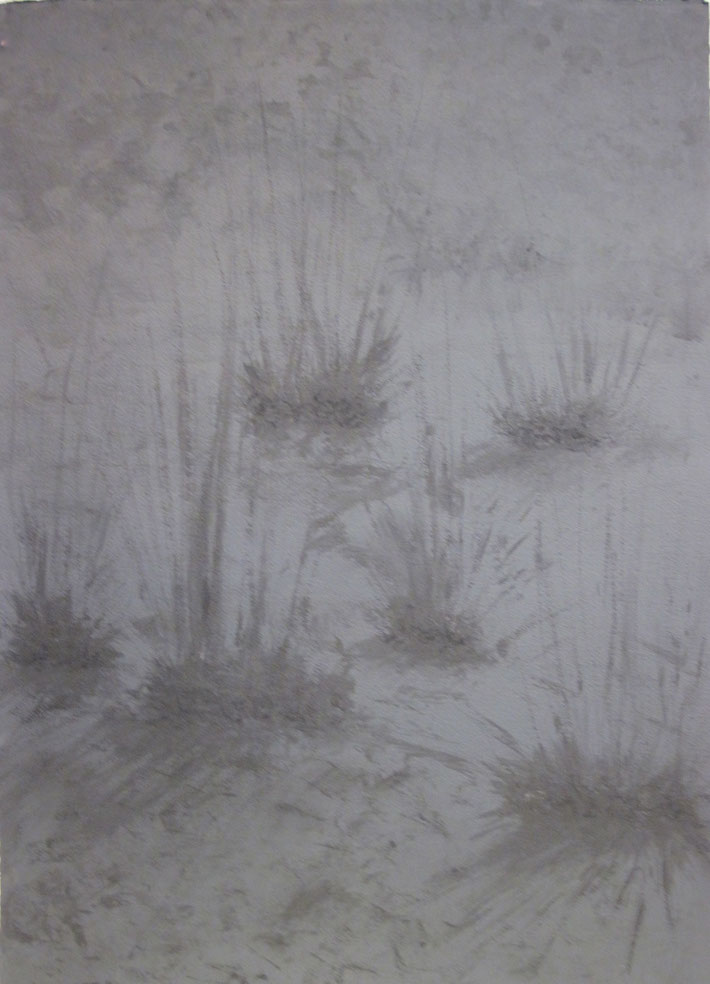 "Weeds, 42"" x 30"", watercolor on black painted paper, 2015"