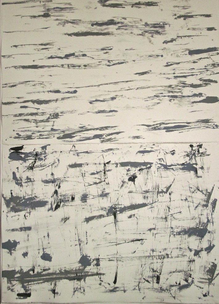 "birch bark, 2015, monotype, 44' X 33"""