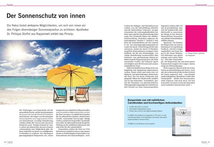 """Beitrag in der Zeitschrift """"Sprechstunde"""": Die Natur bietet wirksame Möglichkeiten, um sich von innen vor den Folgen übermässiger Sonnenexpositon zu schützen. Apotheker Dr. Philippe Stoffel aus Rapperswil erklärt das Prinzip."""