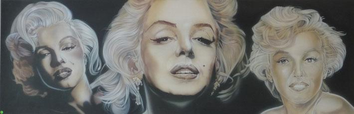 Airbrush auf Leinwand   Masse B 150 cm x H 50 cm x T 2 cm