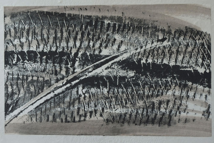 winter  vineyard    monotype  print  /  brou  de  noix   chinese  ink  on  rice paper    50  x  32   cm