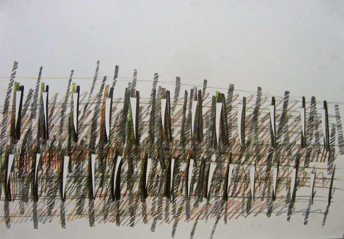 autumn vineyard  2011   crayon on paper  cut outs    35 x 50 cm