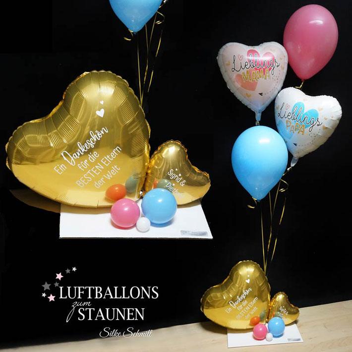 Ballon Luftballon Heliumballon Bouquet Geschenk Mitbringsel Danke sagen Dankeschön mit Namen Personalisierung Geschenkballon Dankeschön Lieblingspapa sagen Frau Mann Versand Idee Party Feier Überraschung Versand Ballonpost Lieblingsmama