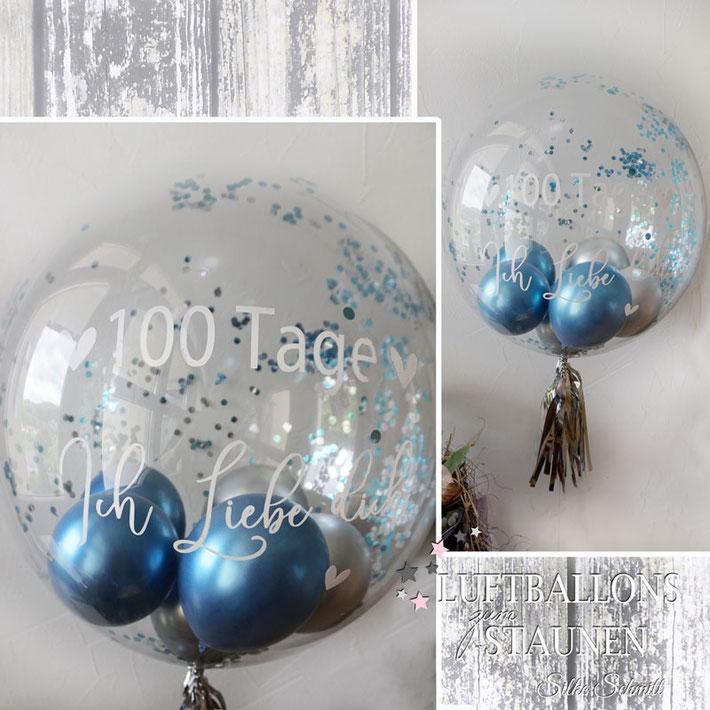 Ballon Luftballon Heliumballon Bubble Wunschbubble Konfetti Konfettiballon Jahrtag Jubiläum Hochzeitstag Geburtstag ich liebe dich Tage Monate 100 Partner Freund Freundin Helium Versand Idee Geschenk Überraschung Mitbringsel personalisiert mit Namen Love