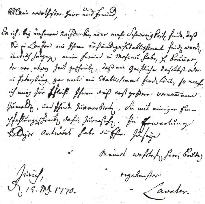 Brief von Johann Jacob Lavater an Abraham Blumer vom 19. März 1770 (Kirchenarchiv Allentown)