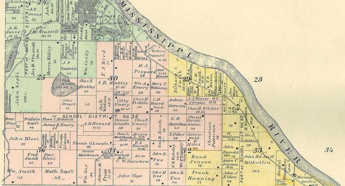Karte von Champlin, Hennepin County, Minnesota, ca. 1880, mit vielen Glarner Familiennamen Zopfi und Blesi dem St.Fridolin Cemetary (heute Elm Creek Park, Vorort von St.Paul Minneapolis)