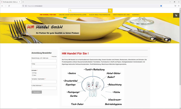 HM Handel GmbH, Dürnten für Hotels, Restaurants, Altersheimen, Kantinen usw.