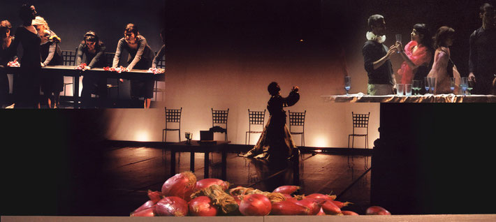 Susanne Linke Assagi di potere Macht das was Urauffuehrung 2004 Fotomontage Heidemarie Franz