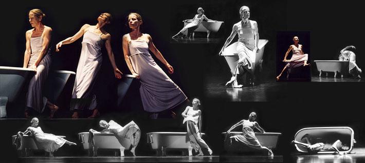 Susanne Linke Im Bade wannen Wiederaufnahme 2001 Fotomontage Heidemarie Franz artwork3.de