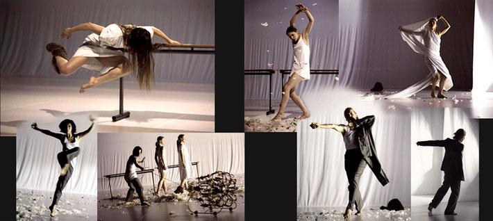 Susanne Linke Schritte verfolgen Rekonstruktion der zweiten Premiere 2007 Fotomontage Heidemarie Franz