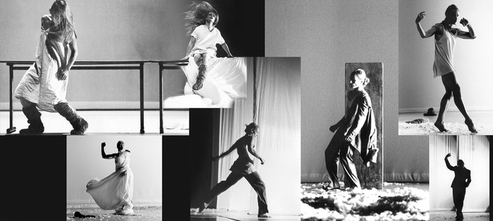 Susanne Linke Woelfl Schritte verfolgen Premiere zwei 1986 Fotomontage Heidemarie Franz