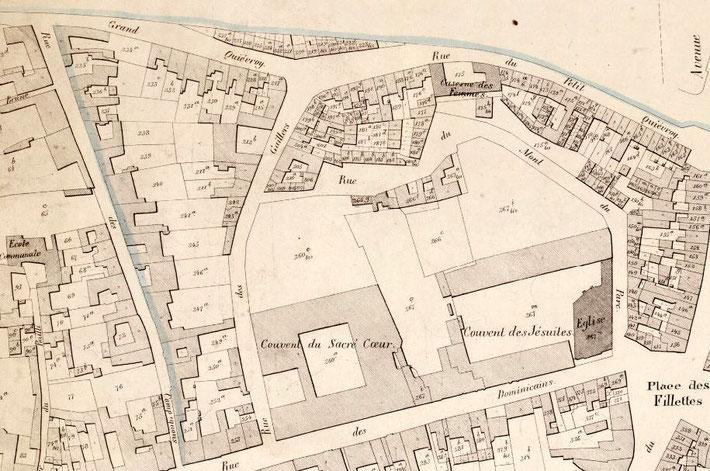 Bibliothèque Royale de Belgique, extrait du Plan POPP concernant la ville de Mons vers 1850-70, Cartesius