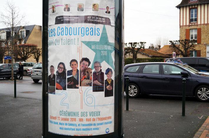 Affichage Place du Marché à Cabourg (Janvier 2016)