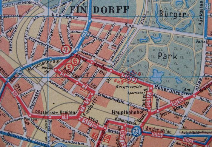 Das Straßenbahn-Streckennetz in Findorff - hier Mitte der 50er Jahre