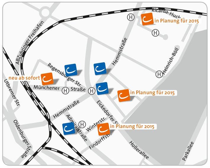 Vier neue CarSharing Stationen entstehen in Findorff allein dieses Jahr