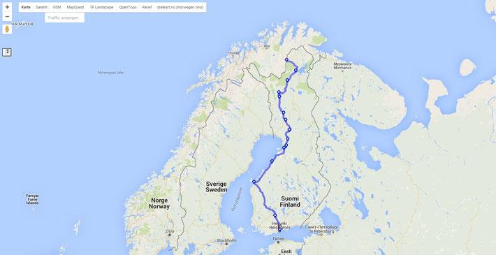 Und auch hier wieder grob unsere Route bis runter nach Helsinki