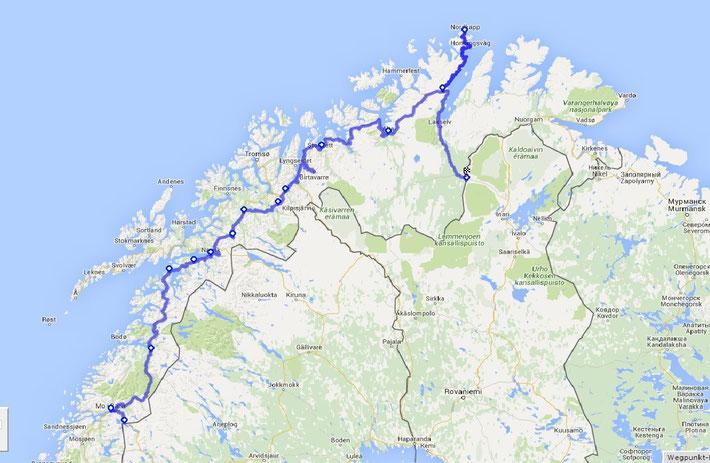 Weiter geht es mit Norwegen! Hier unsere Route :)