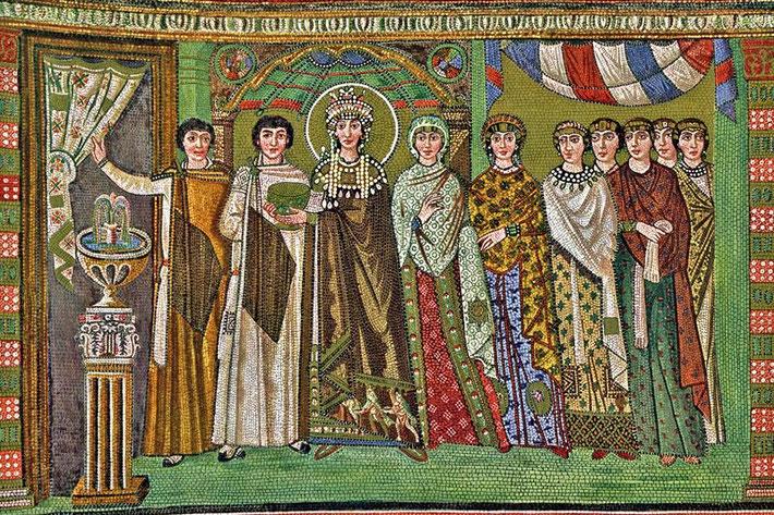 Mosaico retratando Teodora, prostituta e mulher de Giustiniano (527- 565 a.d.), imperador que por primeiro na Història legislou a favor das mulheres.