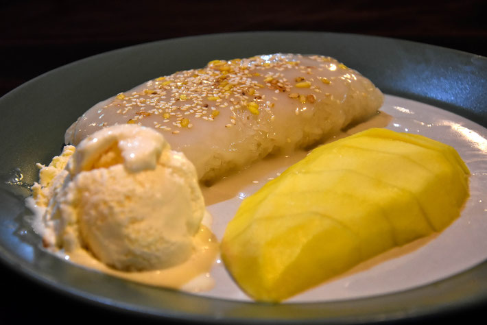 Nachtisch Eis Reis Mango Essen Nacht Kho Phangan Reise Fotograf