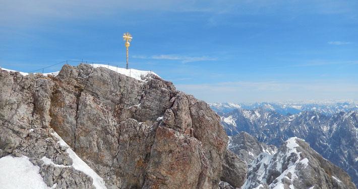 ドイツの最高峰、ツークシュピッツェの頂上