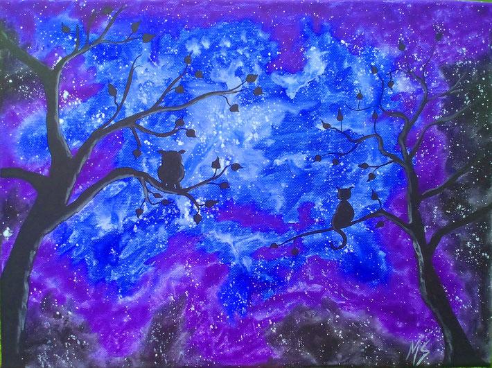 Aquarell auf Leinwand: Sternenhimmel Eule/Katze