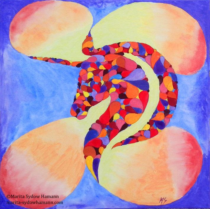 "Aquarell auf Leinwand, 50x50 cm, ""Fabelhaft Feurig"""