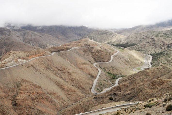 Pass Tizi-n-Tichka Marokko Serpentinen Passhöhe
