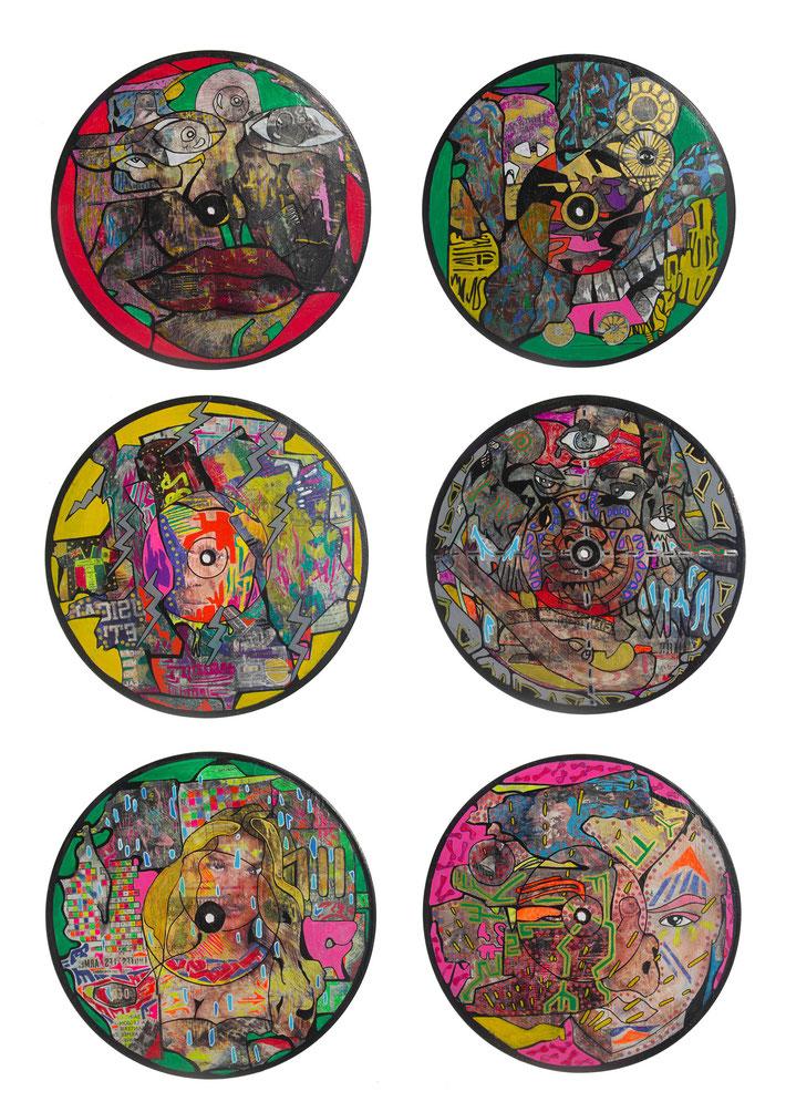 Techniques mixtes sur transferts d'images sur vinyles, 2015