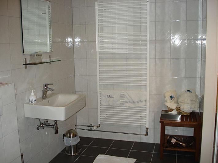 Toilettafel in ruime badkamer en droogradiator