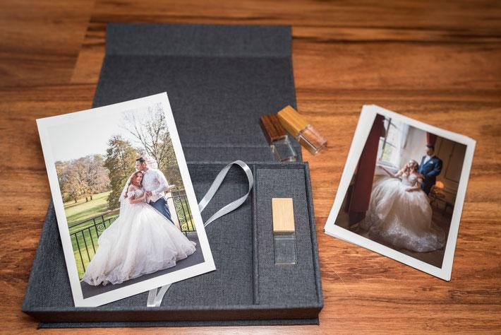 Hochwertige Leinen-Geschenkbox für Fotoabzüge inklusive passendem USB Stick mit 16GB  -  nur 39,00€