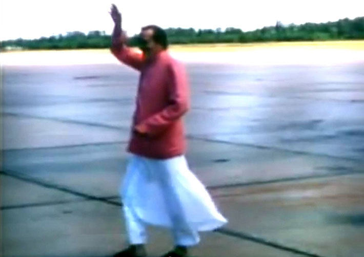 Meher Baba arrived at Wilmington Airport, NC. -  Image captured from a film by Anthony Zois