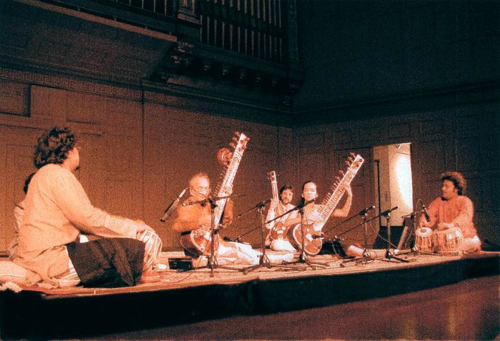 Michael performing with Ravi Shankar