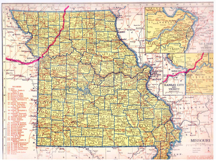 MISSOURI STATE MAP : This map shows the journey Meher Baba took across the state of Missouri. This map apart from the rivers and county lines only shows rail-lines not roads.