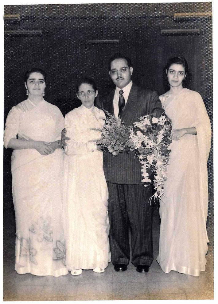 9th September 1956. ( L-R ) Perviz, Dina, Curshed & Jeroo. Image courtesy of Mani Kelkar