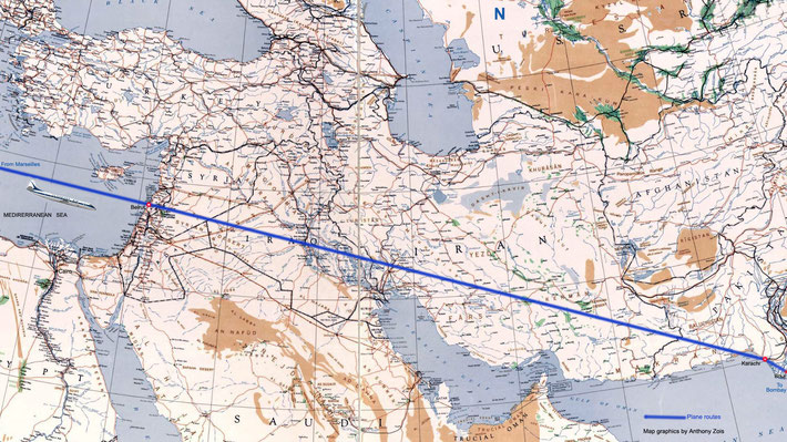 1952 Map - Air France flight route from France to Beirut & onto Karachi and India. Map graphics by Anthony Zois.